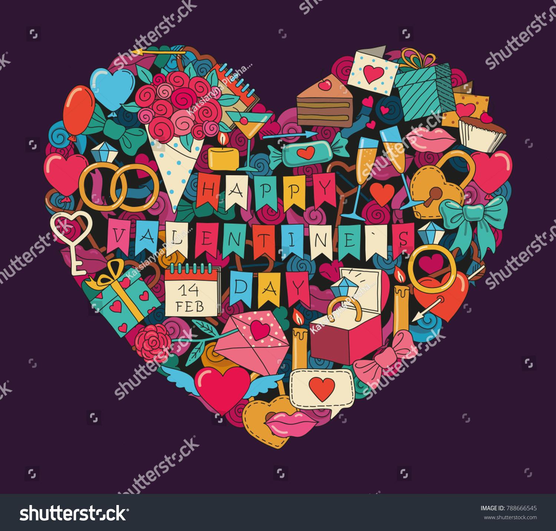 Symbols Valentines Day Heart Shaped Stock Vector Royalty Free