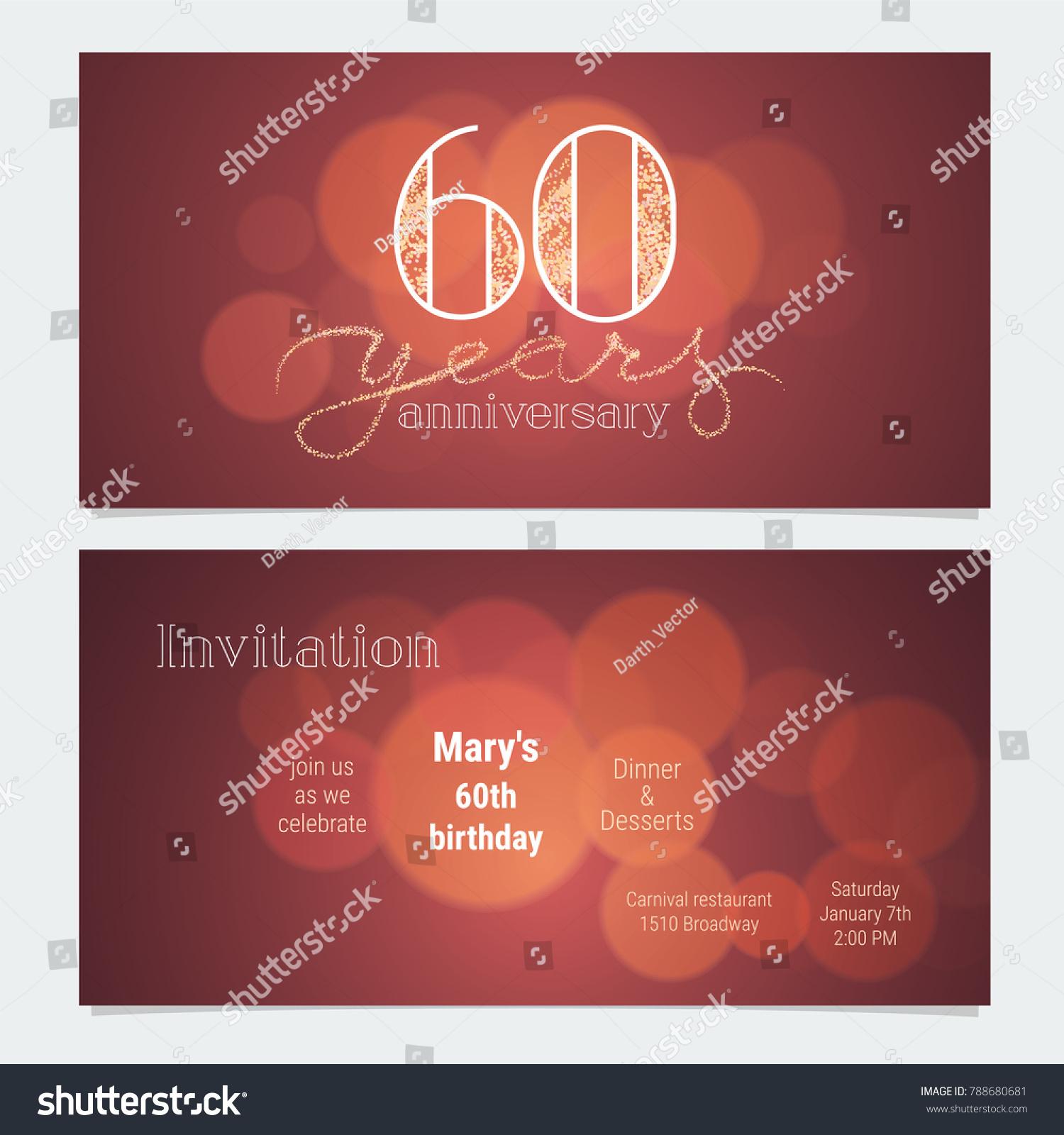 60 Years Anniversary Invitation Celebration Vector Stock Vector ...