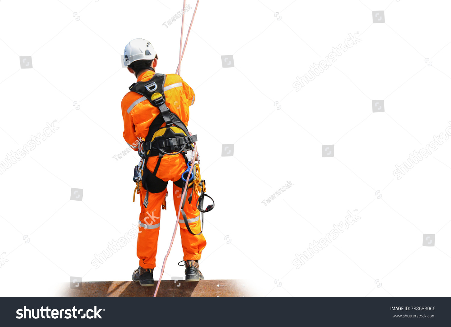 Worker Man Wear Safety Harness Copy Stock Photo Edit Now 788683066 Space On White Background