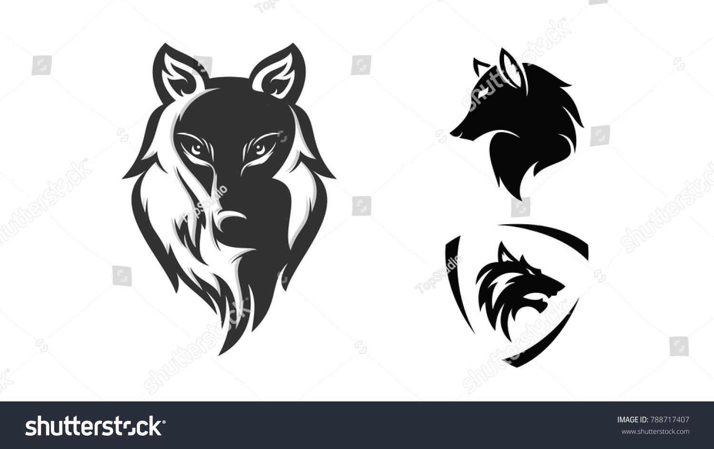 set wolf head logo design template stock vector royalty free