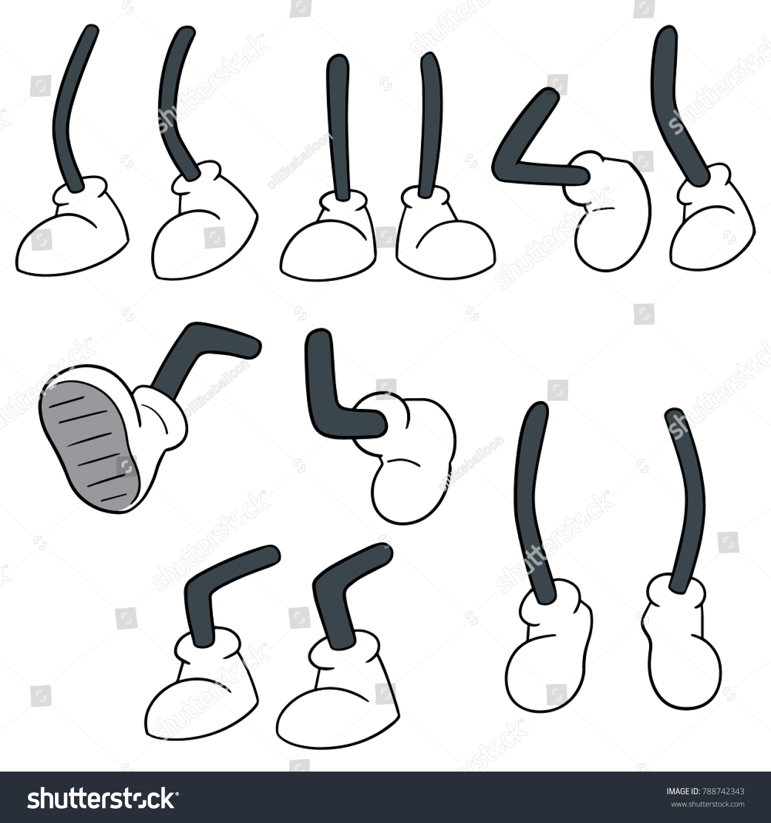 vector set of cartoon leg #788742343