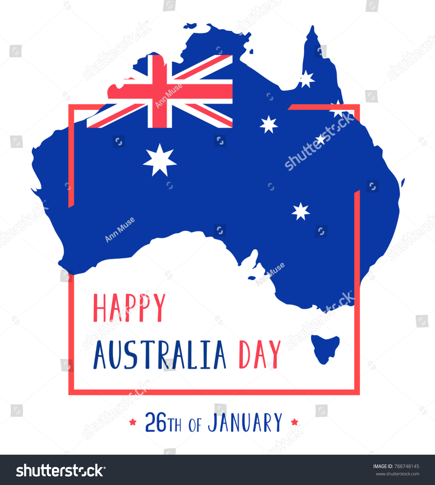 Map Of Australia 26th Parallel.Vector 26th January Happy Independence Day Stock Vector Royalty