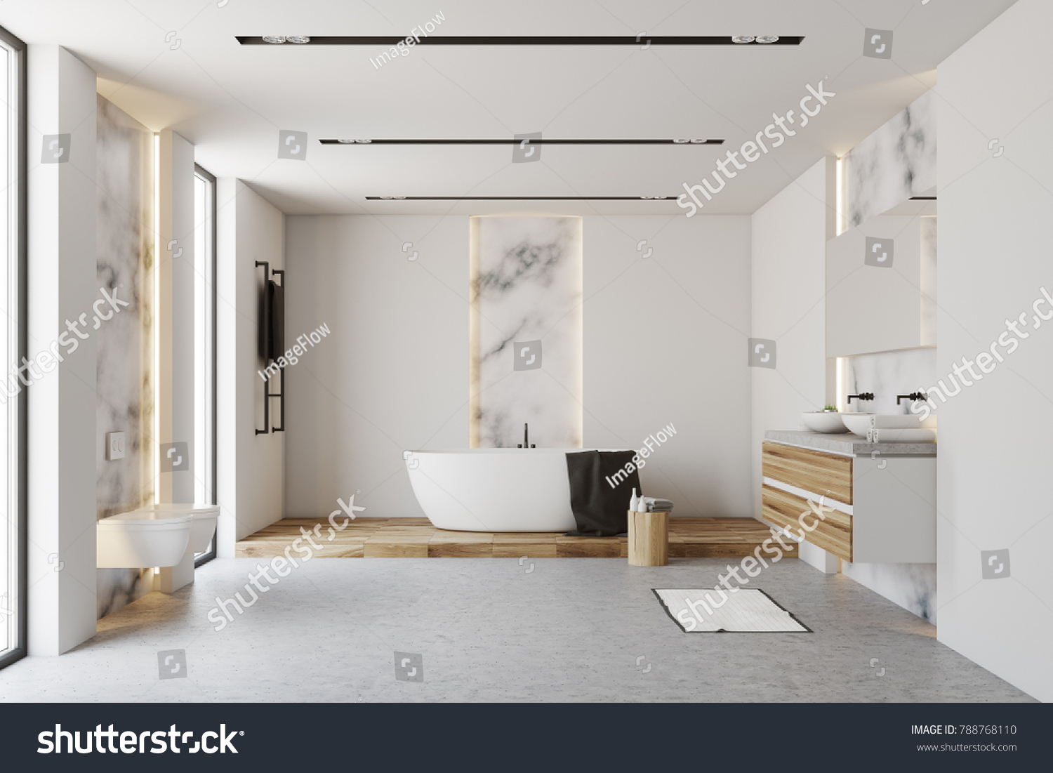 White Marble Bathroom Interior White Tub Stock Illustration 788768110