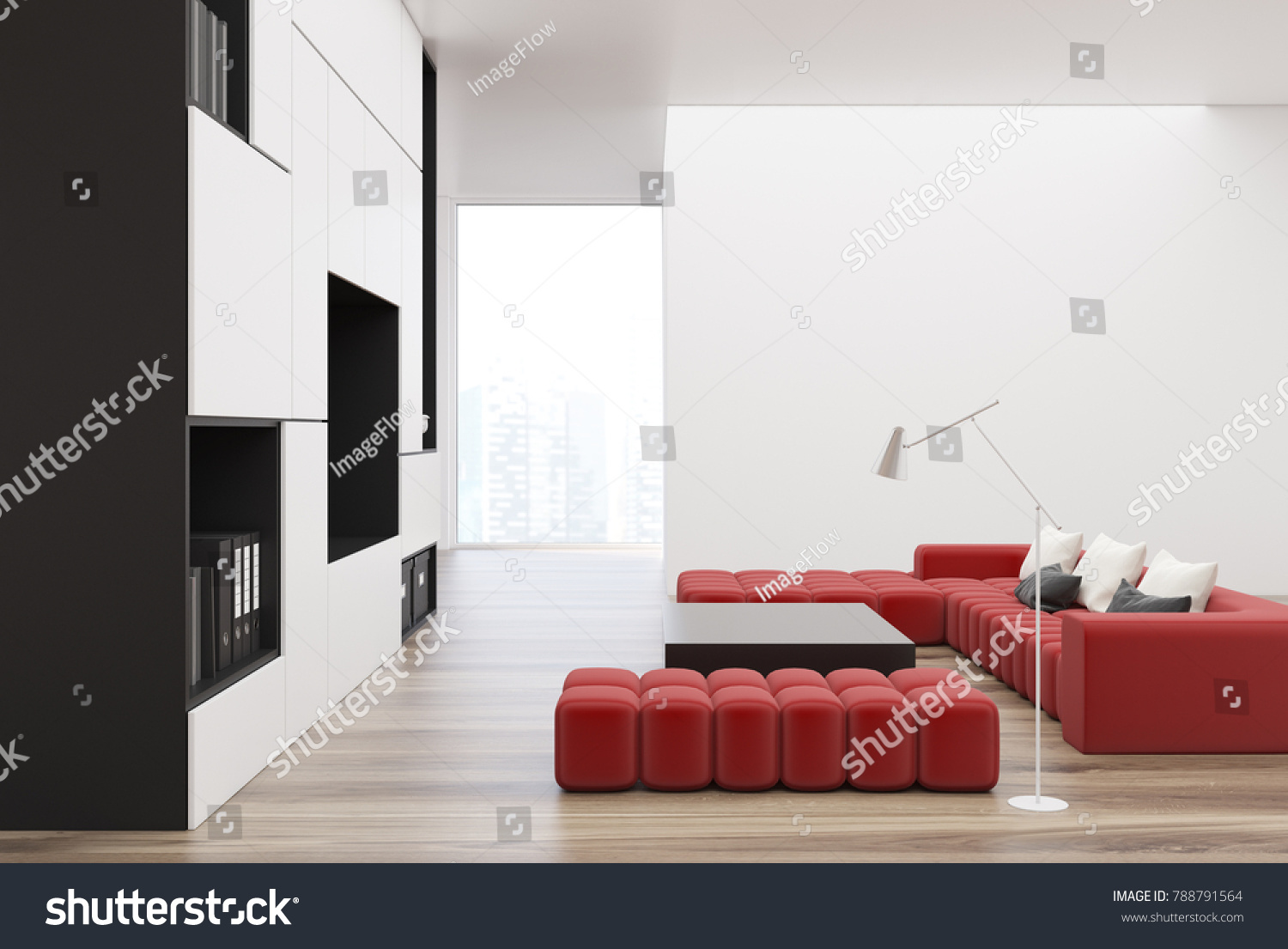 White and black living room interior with a built in tv set two soft red