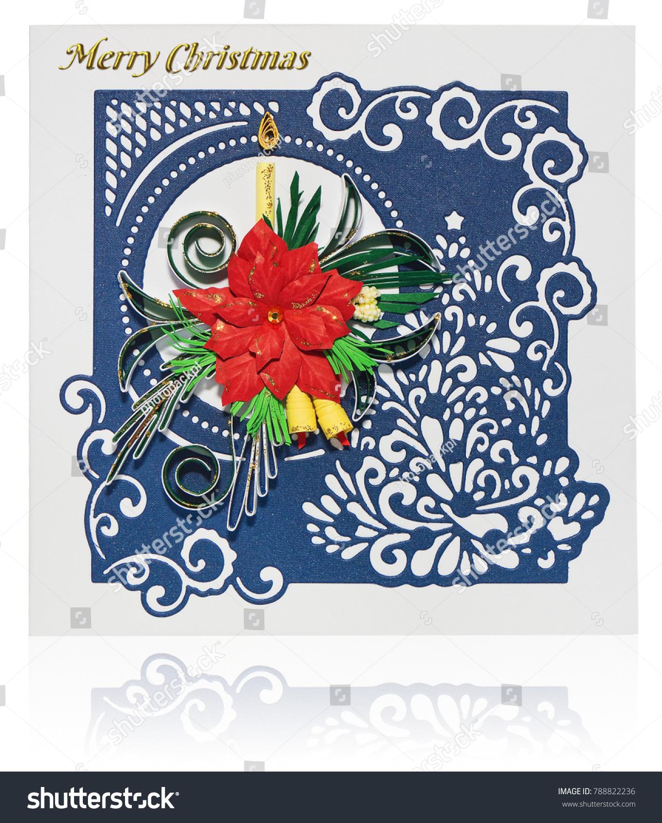 Handmade Christmas Card Postcard Merry Christmas Stock Photo Edit