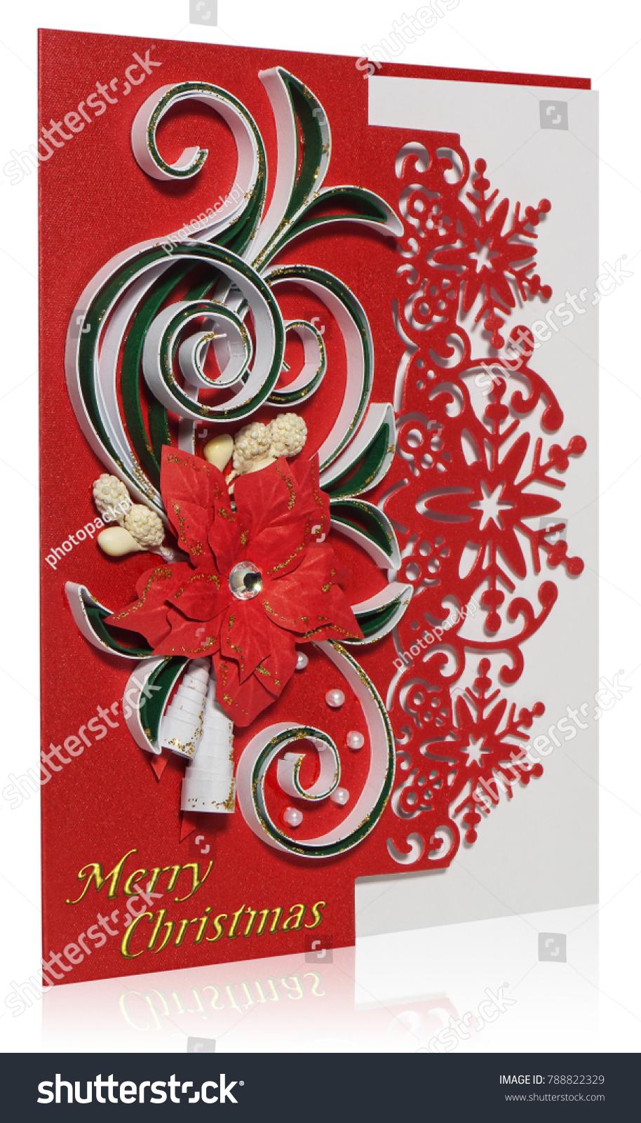 Handmade Christmas Card Postcard Merry Christmas Stock Photo
