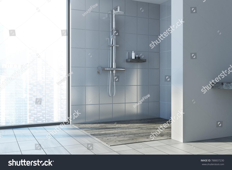 Gray Shower Stall Tiled Floor Near Stock Illustration 788837230 ...