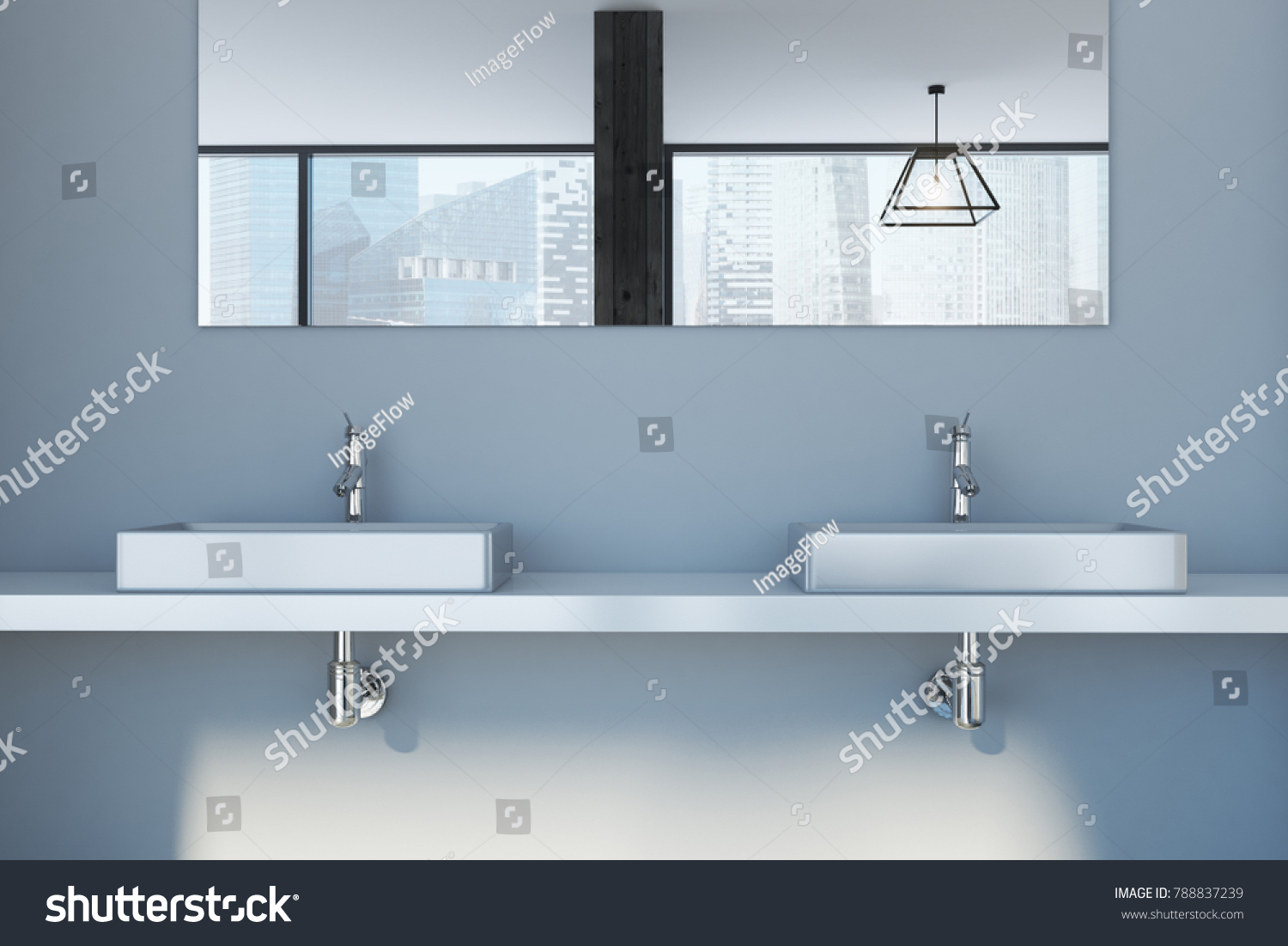 Gray Bathroom Interior Double Sink Standing Stock Illustration ...