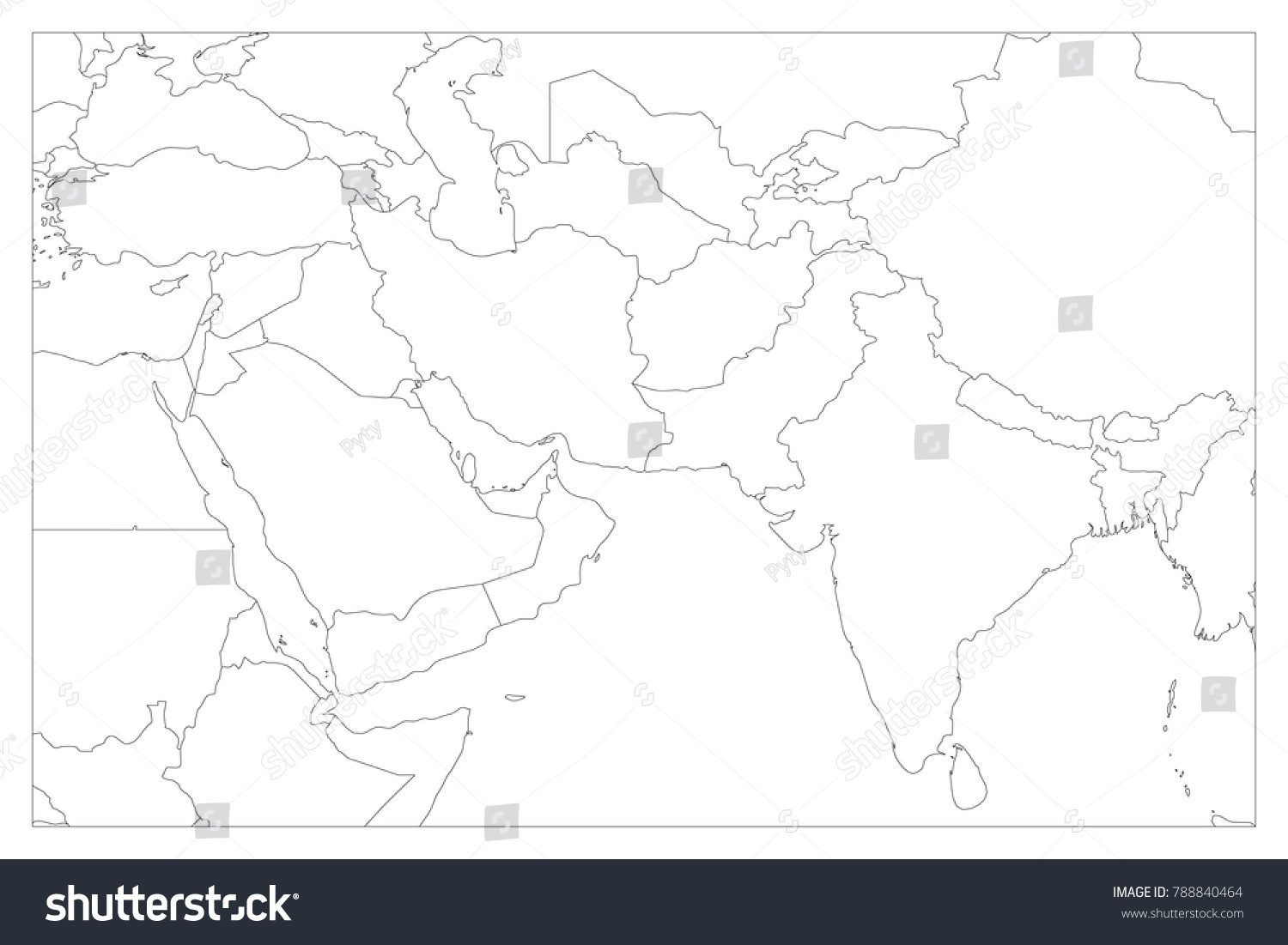 Political Map South Asia Middle East Stock Vector Royalty Free