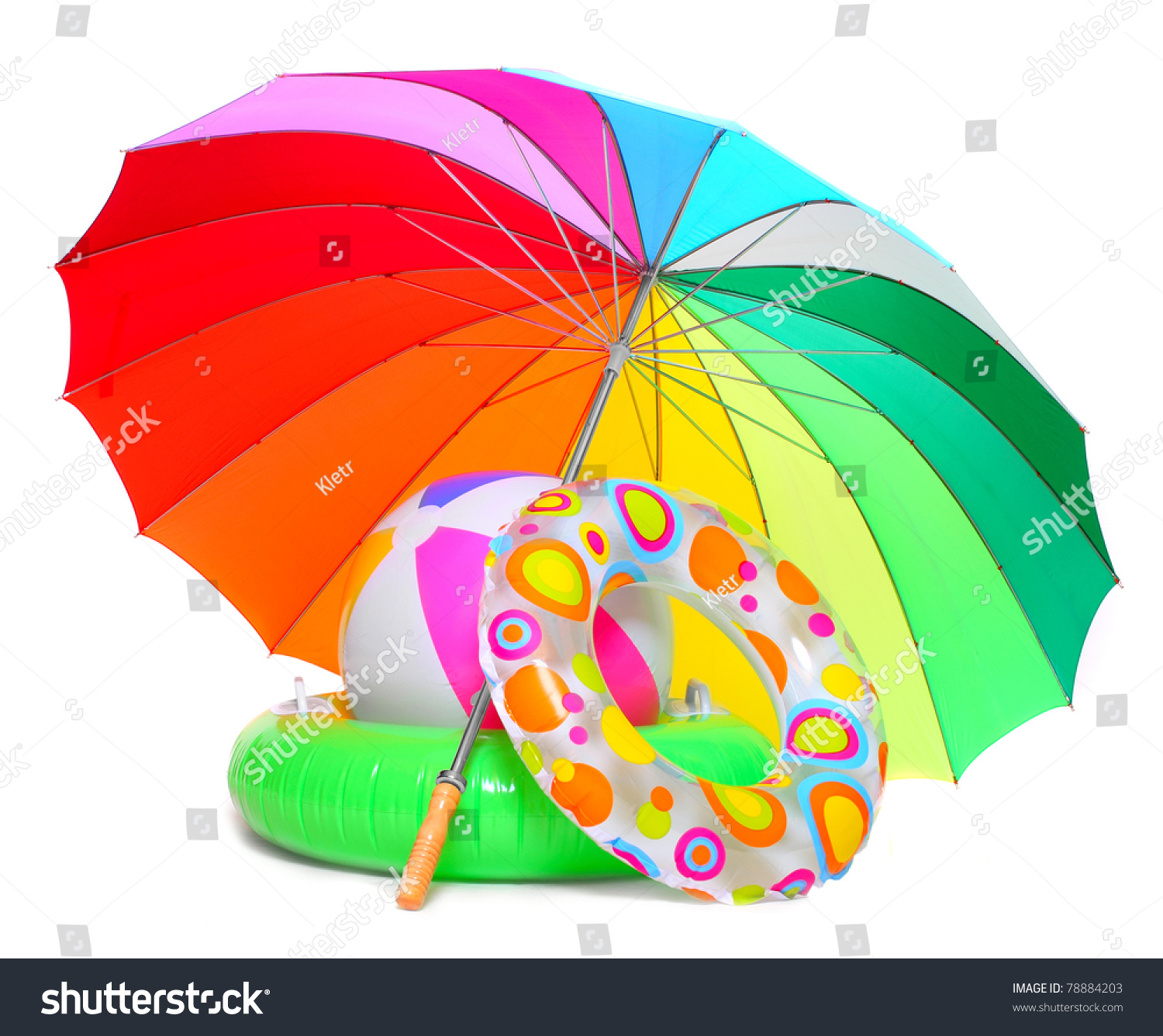 Floating Water Toys And Beach Umbrella Isolated On White