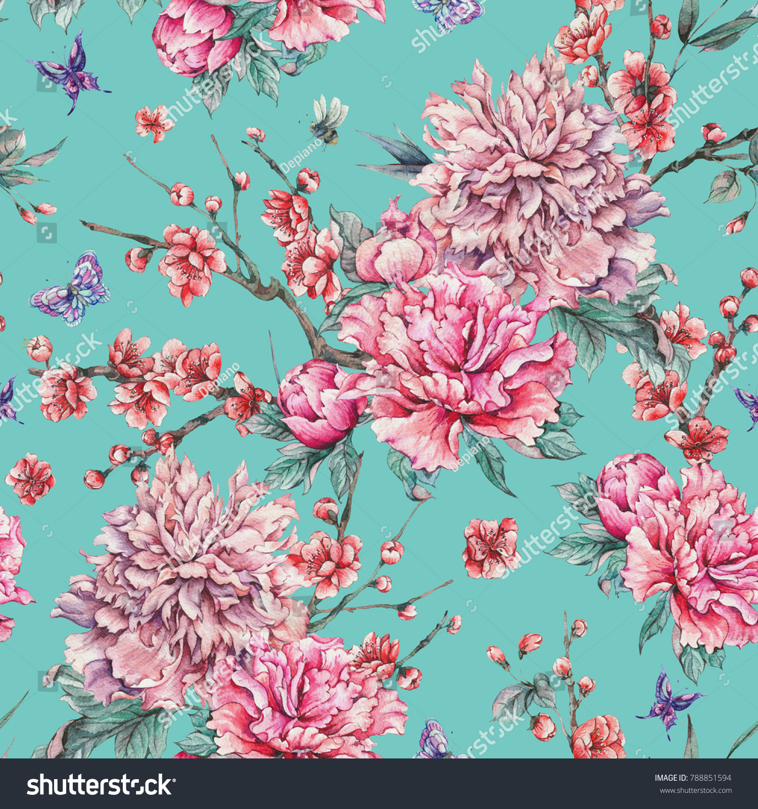 Watercolor Nature Seamless Pattern With Pink Flowers Blooming