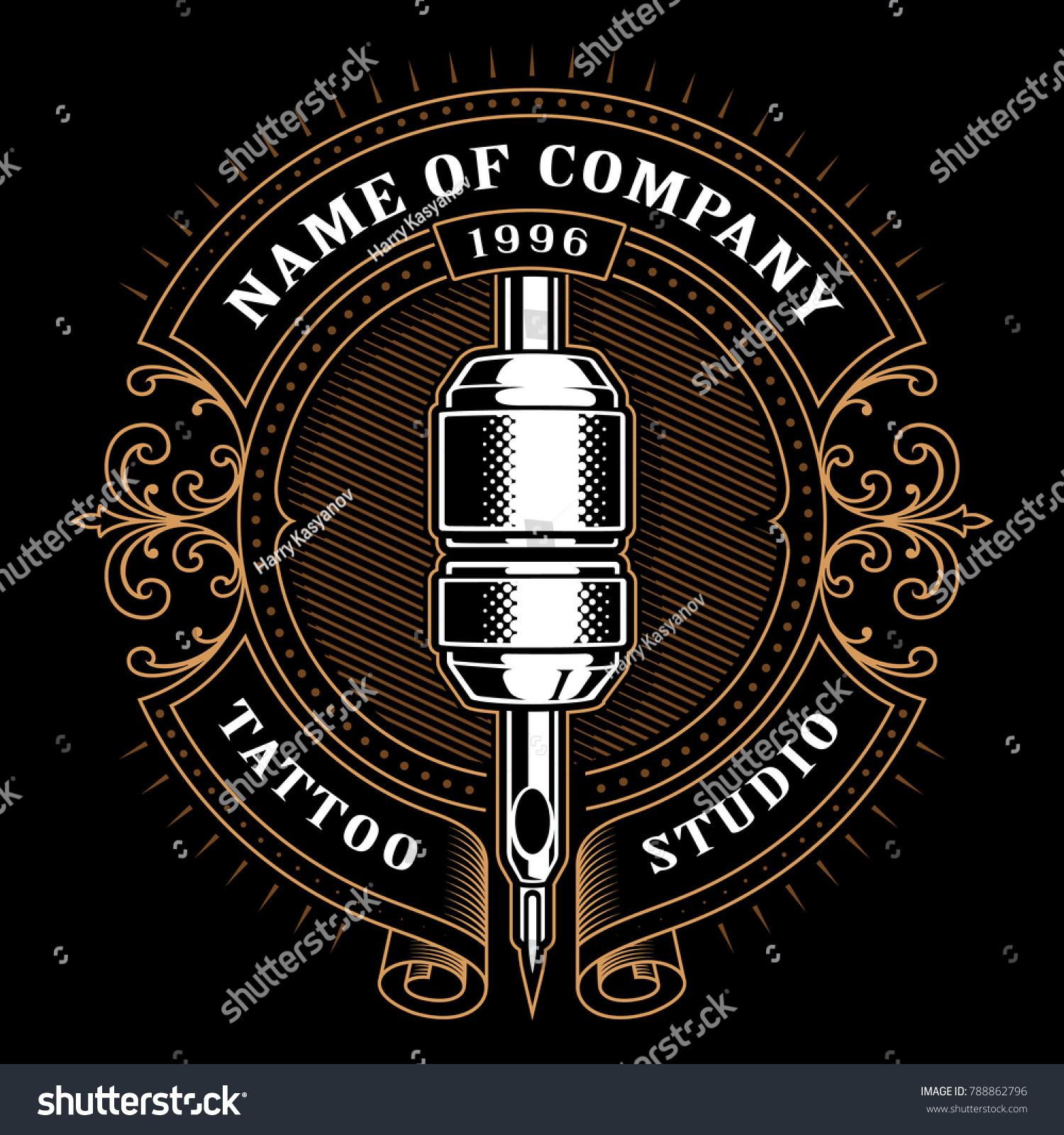 Royalty free stock illustration of tattoo studio logo template.