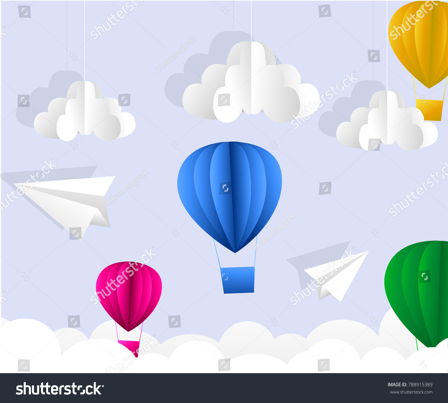 Illustration clouds suns hot air balloon stock vector 788915389 illustration of clouds suns and hot air balloon origami flying on the sky bringing on jeuxipadfo Choice Image