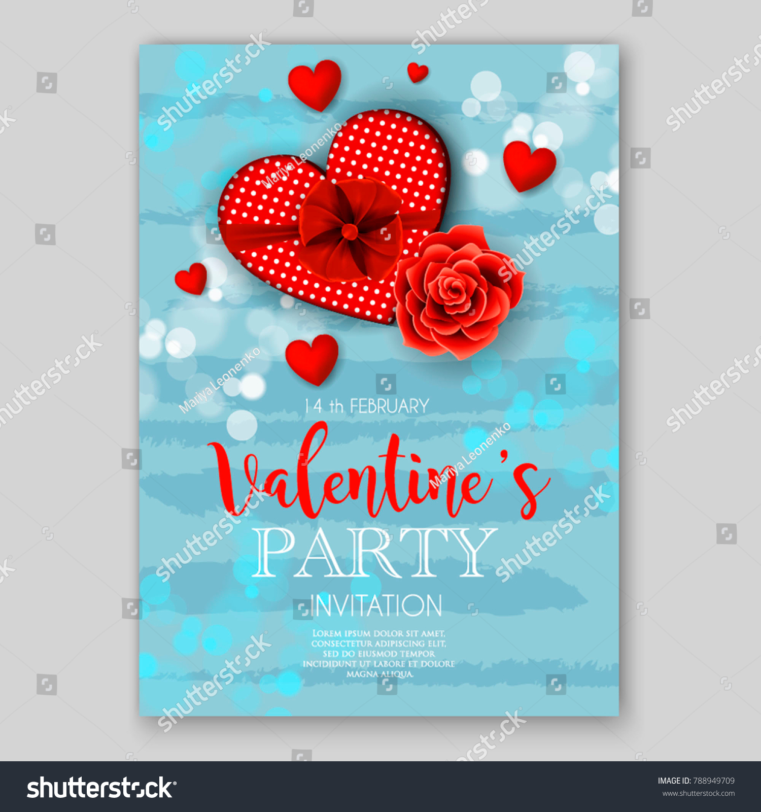 Valentines Day Party Invitation Red Hearts Stock Vector (Royalty ...