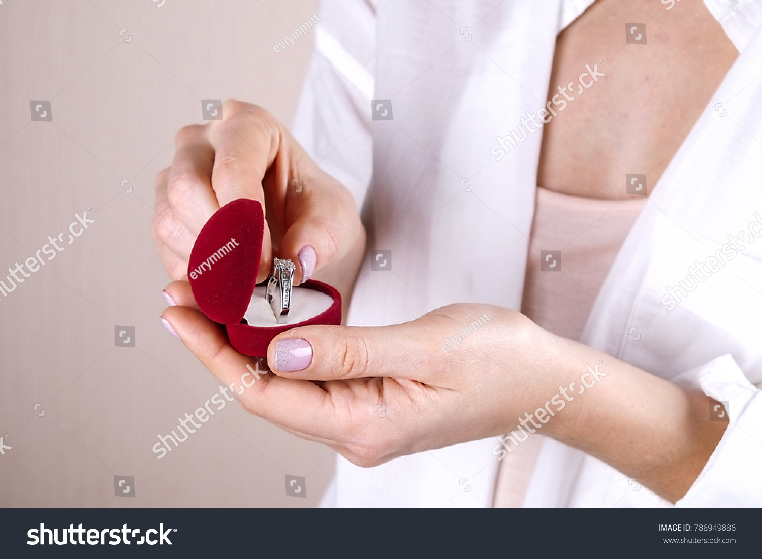 Young Woman Hands Holding Beautiful Platinum Stock Photo (Royalty ...