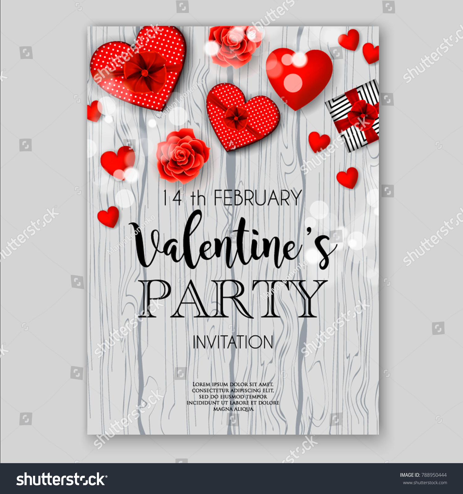 Valentines Day Party Invitation Heart Wedding Stock Vector 788950444 ...