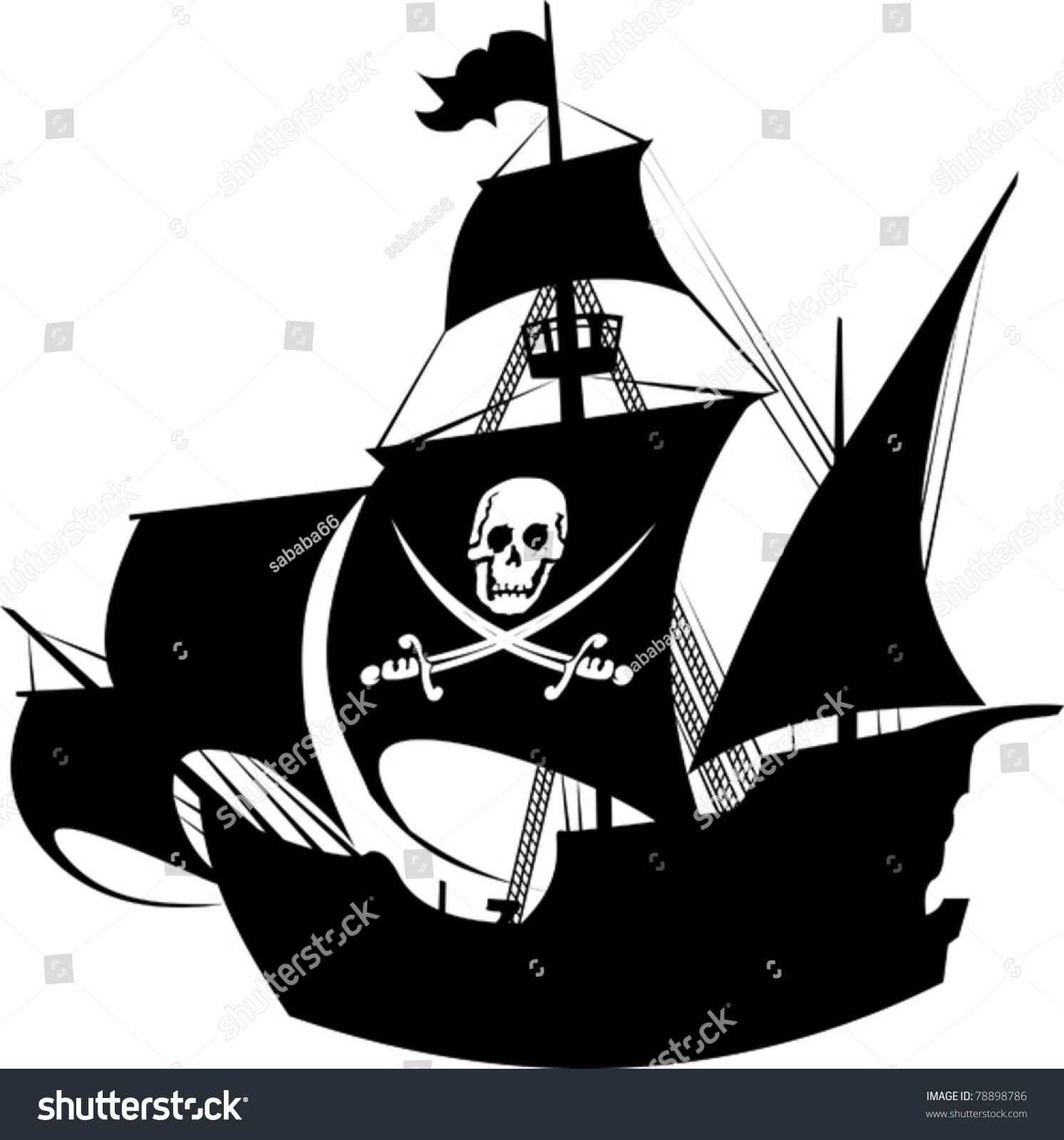 Silhouette Pirate Ship Image Skeleton On Stock Vector Royalty Free
