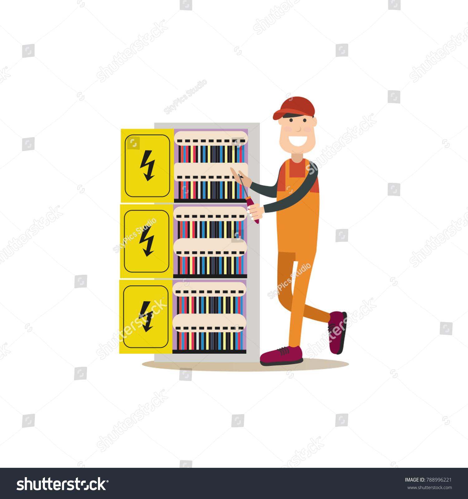 Illustration Electrician Installing Maintaining Repairing