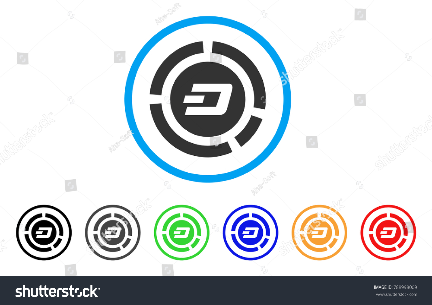 Dash Pie Chart Rounded Icon Style Stock Vector (Royalty Free
