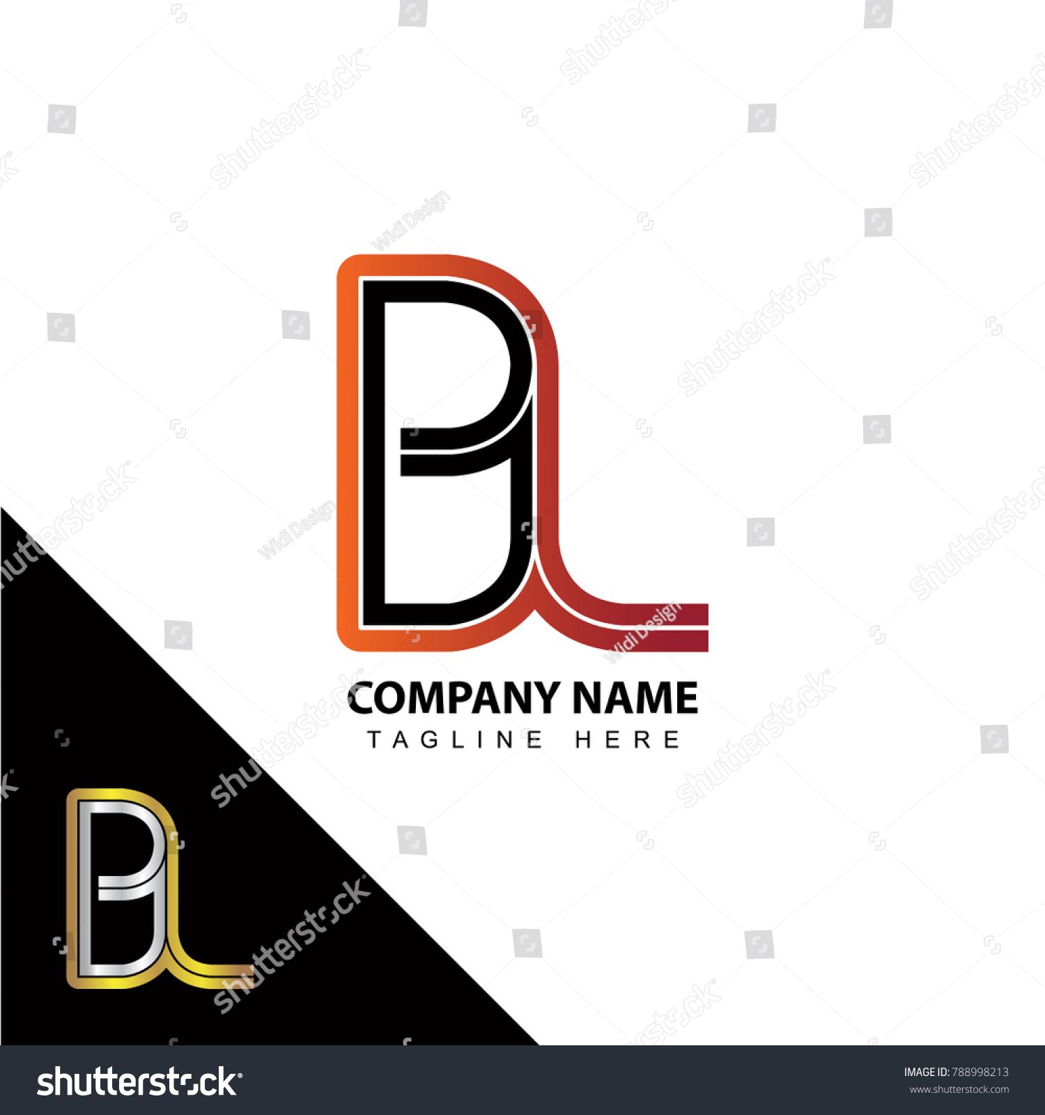 Abstract Initial Linked Letter Bl Creative Stock Vector Royalty