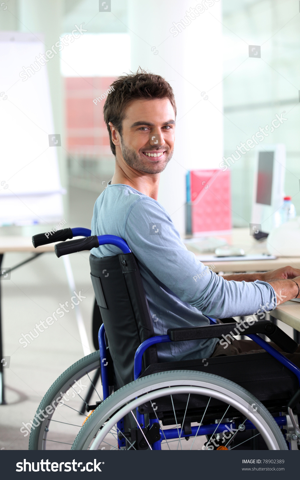 Young Man Smiling Wheelchair Stock Photo 78902389