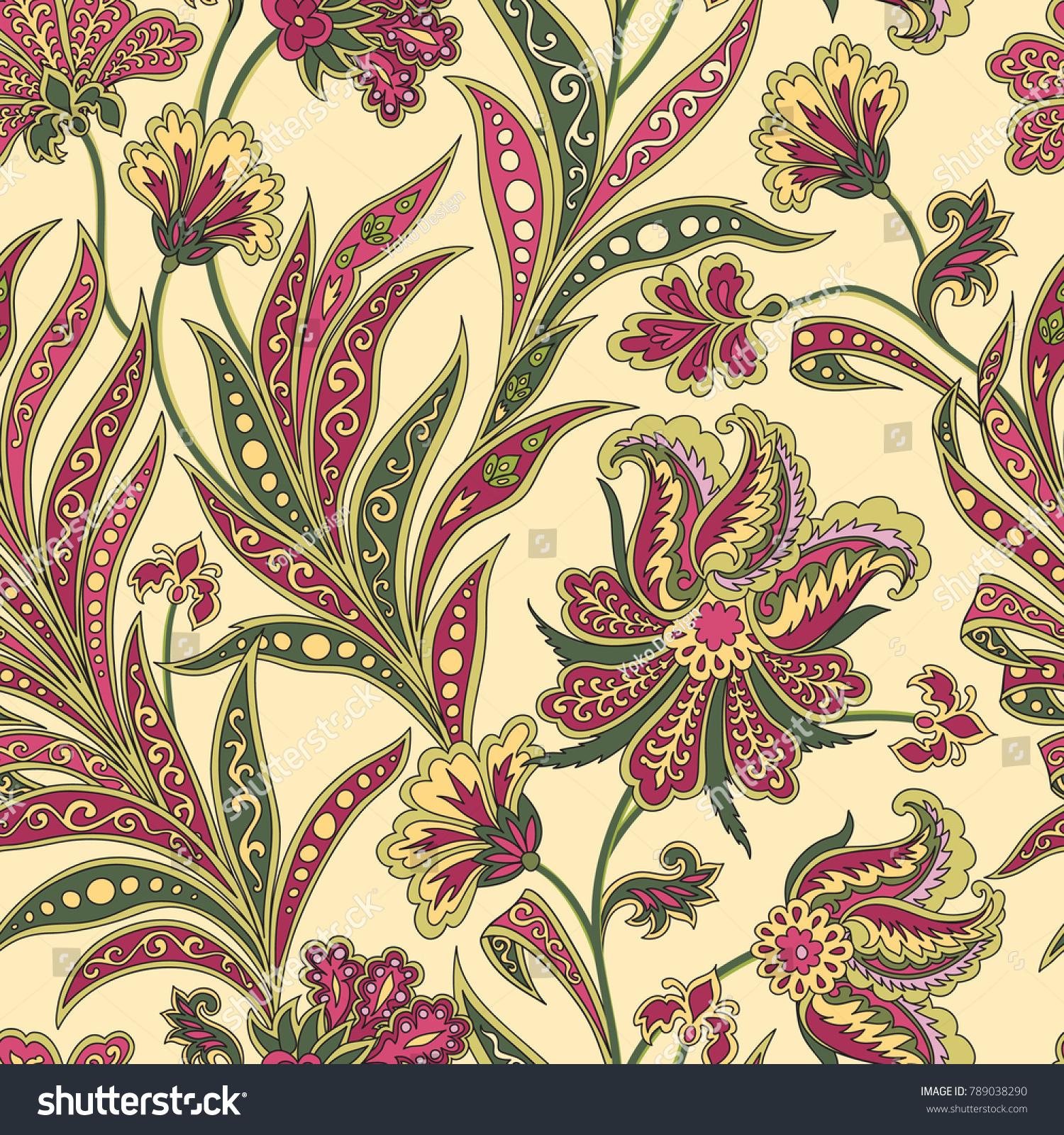 Floral Pattern Flourish Tiled Oriental Ethnic Stock Vector