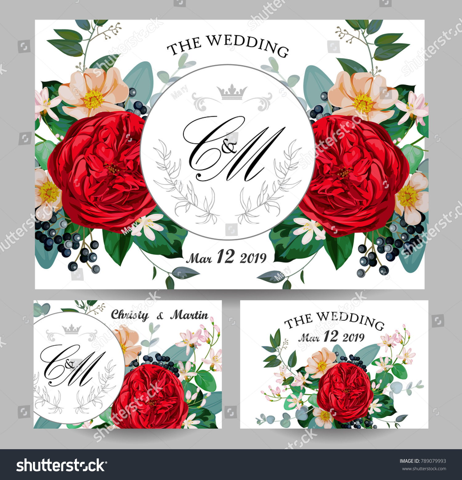 Wedding Invitations Red English Rose Stock Vector 789079993 ...