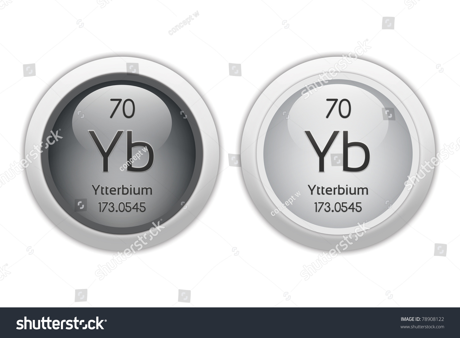 Ytterbium Two Web Buttons Chemical Element Stock Illustration