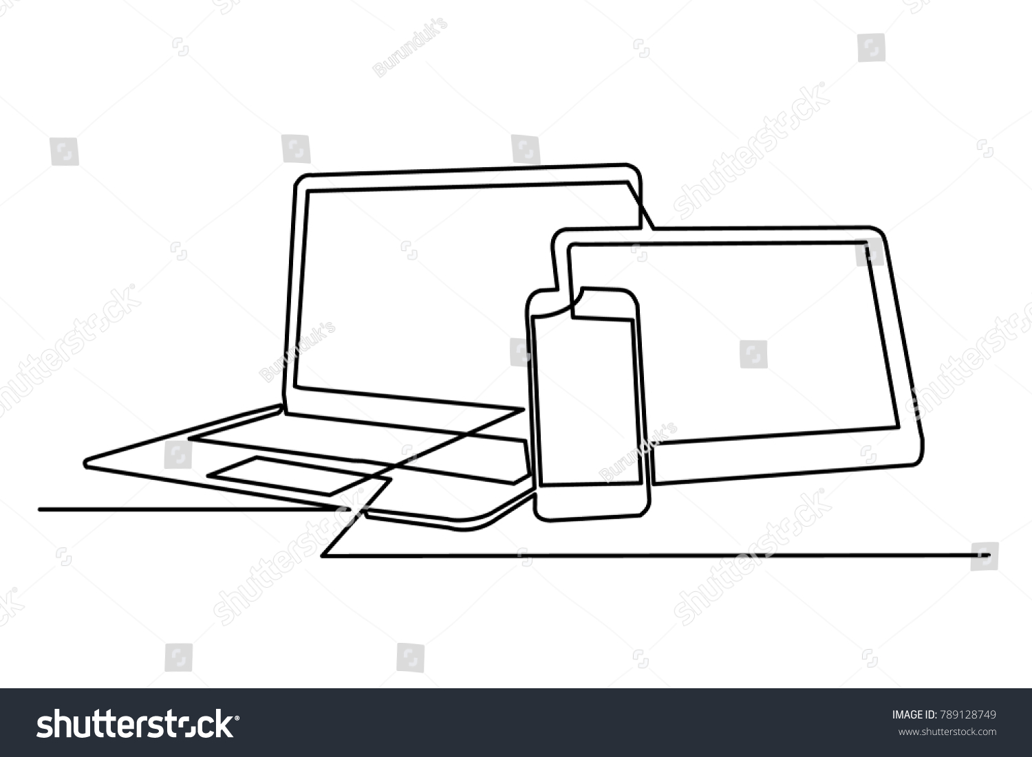 Drawing Lines With Tablet : Continuous drawing laptop computer tablet mobile stock vector