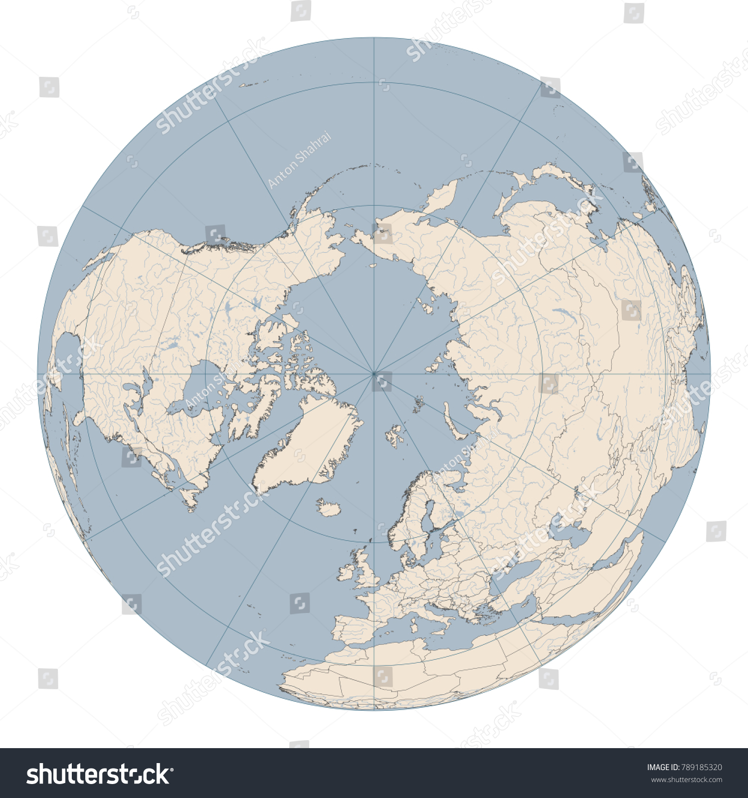 North pole map huge detailed map stock vector 2018 789185320 north pole map huge and detailed map of northern hemisphere of earth in orthographic projection gumiabroncs Choice Image