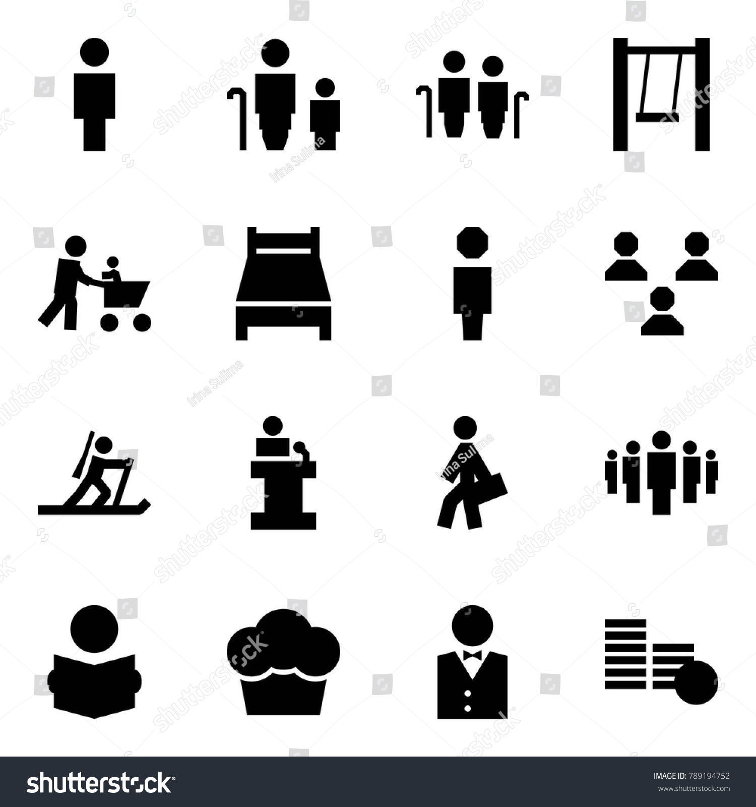 Origami Style Icon Set Man Vector Stock 789194752