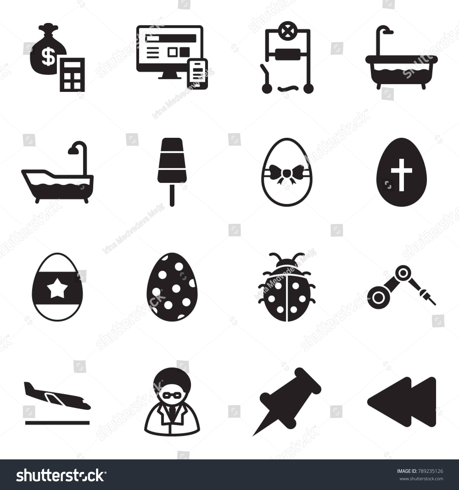 Solid Black Vector Icon Set Money Stock Royalty Free Wiring How To Bag Calculator Monitor Phone