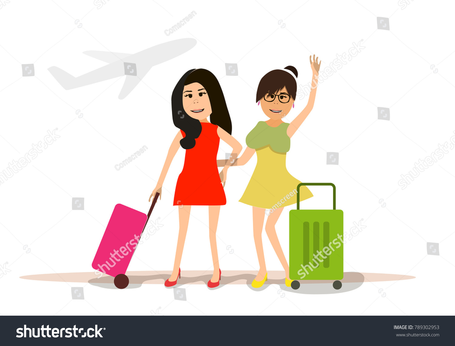 Two Girls Are Traveling With Suitcases At The Airport