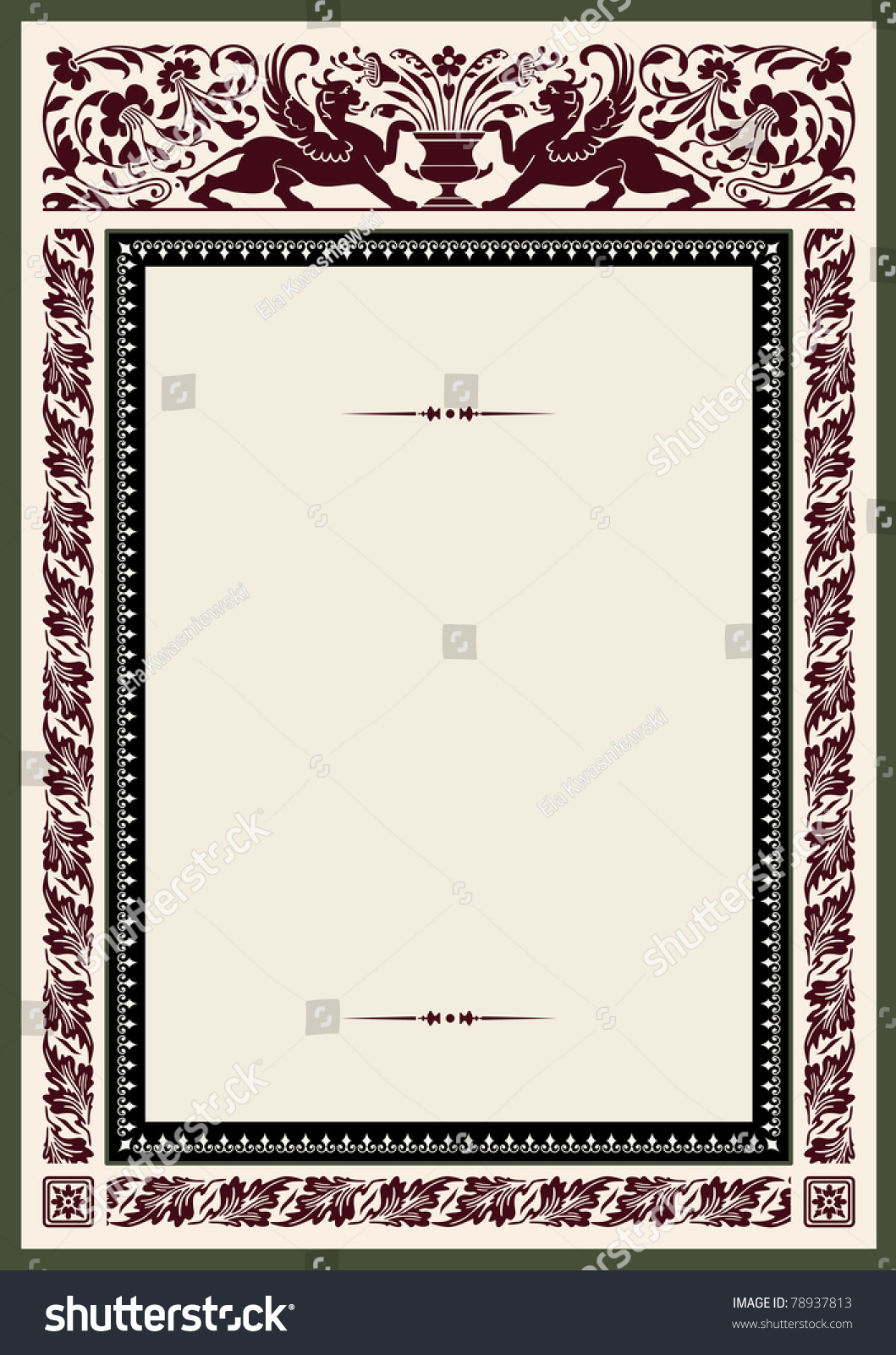 Vintage frame certificate awards diploma template stock vector vintage frame for certificate awards or diploma template with heraldic and floral ornaments 1betcityfo Image collections