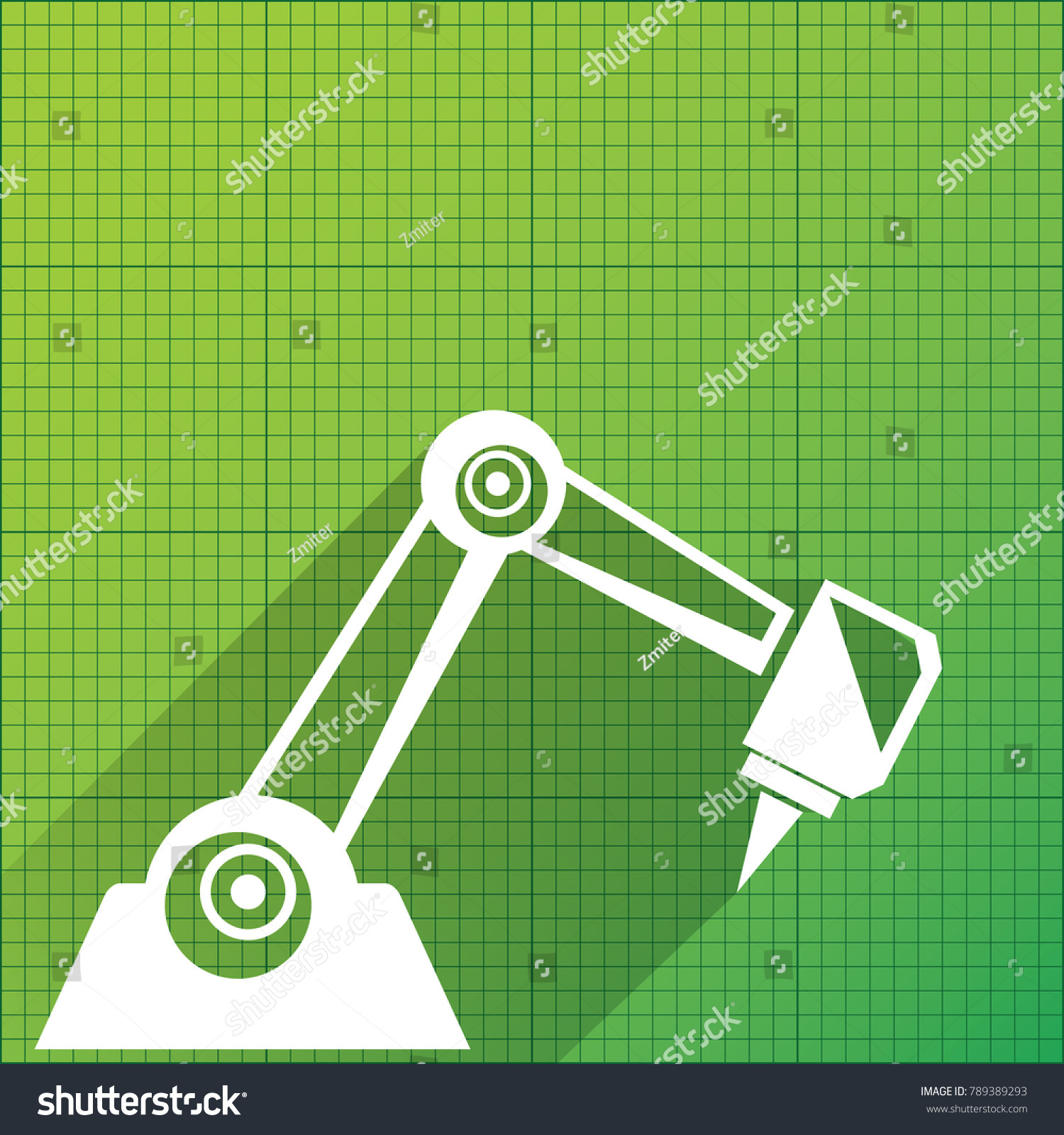 Vector Robotic Arm Symbol On Green Stock Vector (Royalty