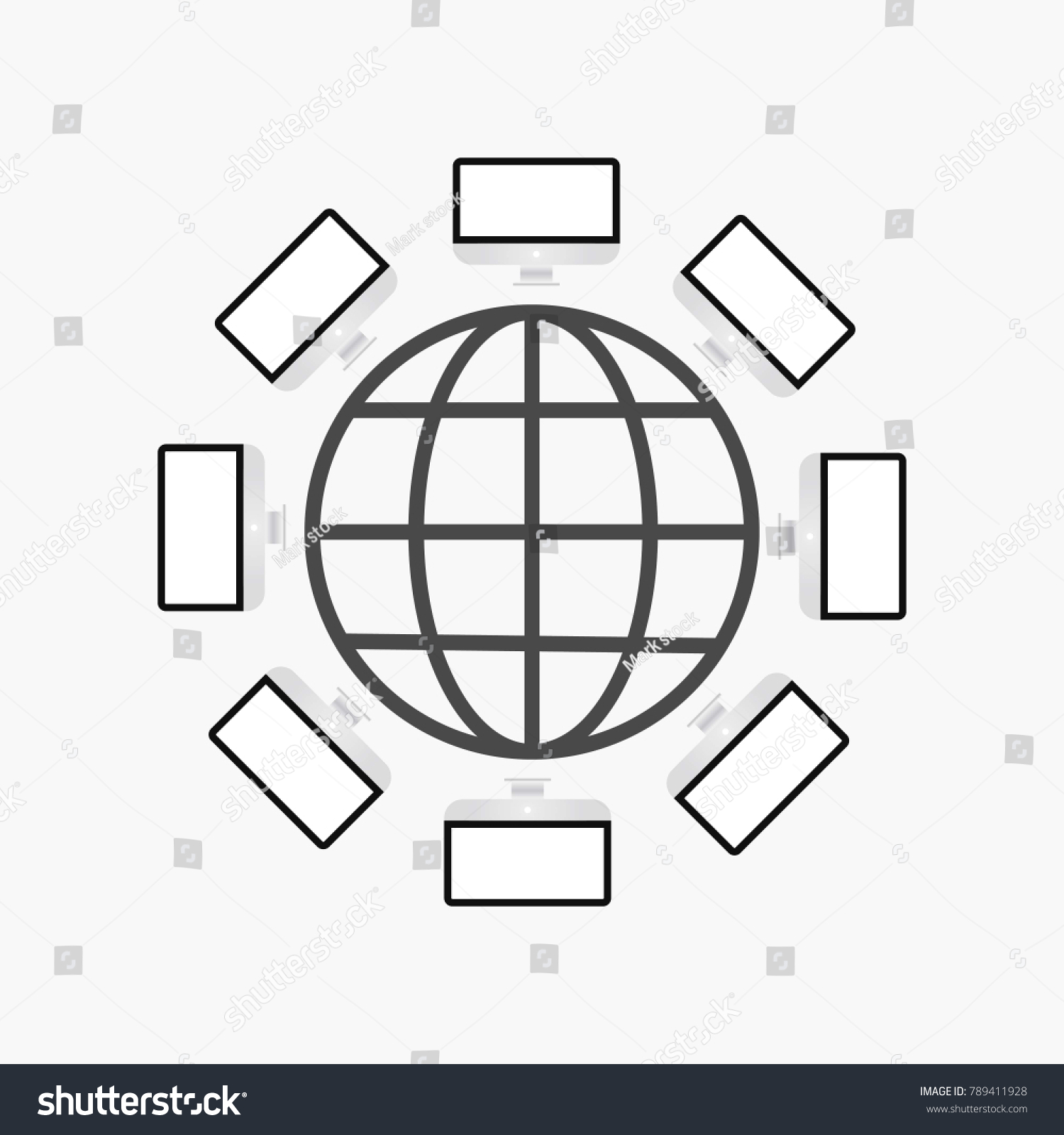Computer Internet Network Connection Intranet Technology Stock Diagram World Wide Web With Desktop Computers Connected For Business And