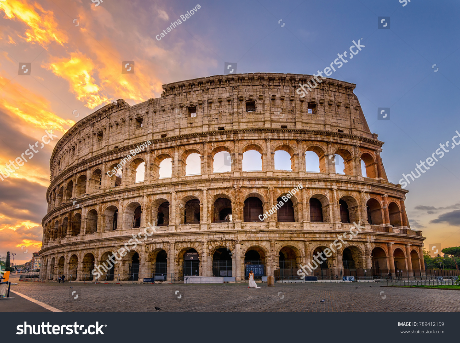 Sunrise view of Colosseum in Rome, Italy. Rome architecture and landmark. Rome Colosseum is one of the main attractions of Rome and Italy #789412159