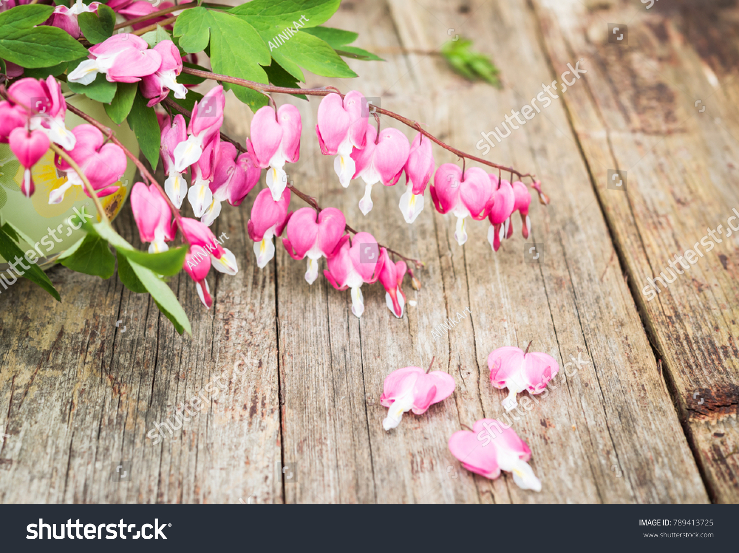 Bouquet Pink Flowers Heartshaped Flowers Bleeding Stock Photo (100 ...