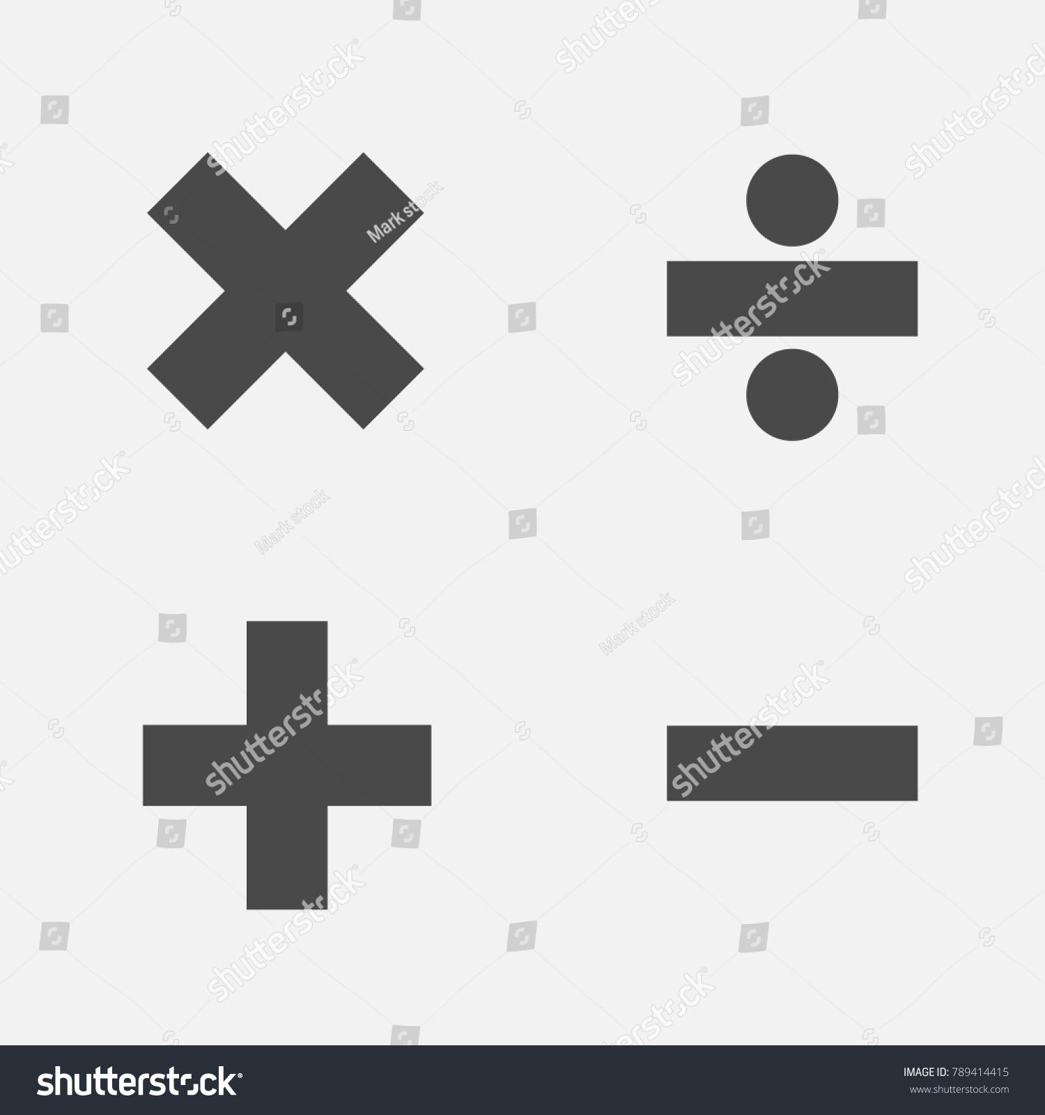 Mathematical Symbols Addition Subtraction Division Multiplication