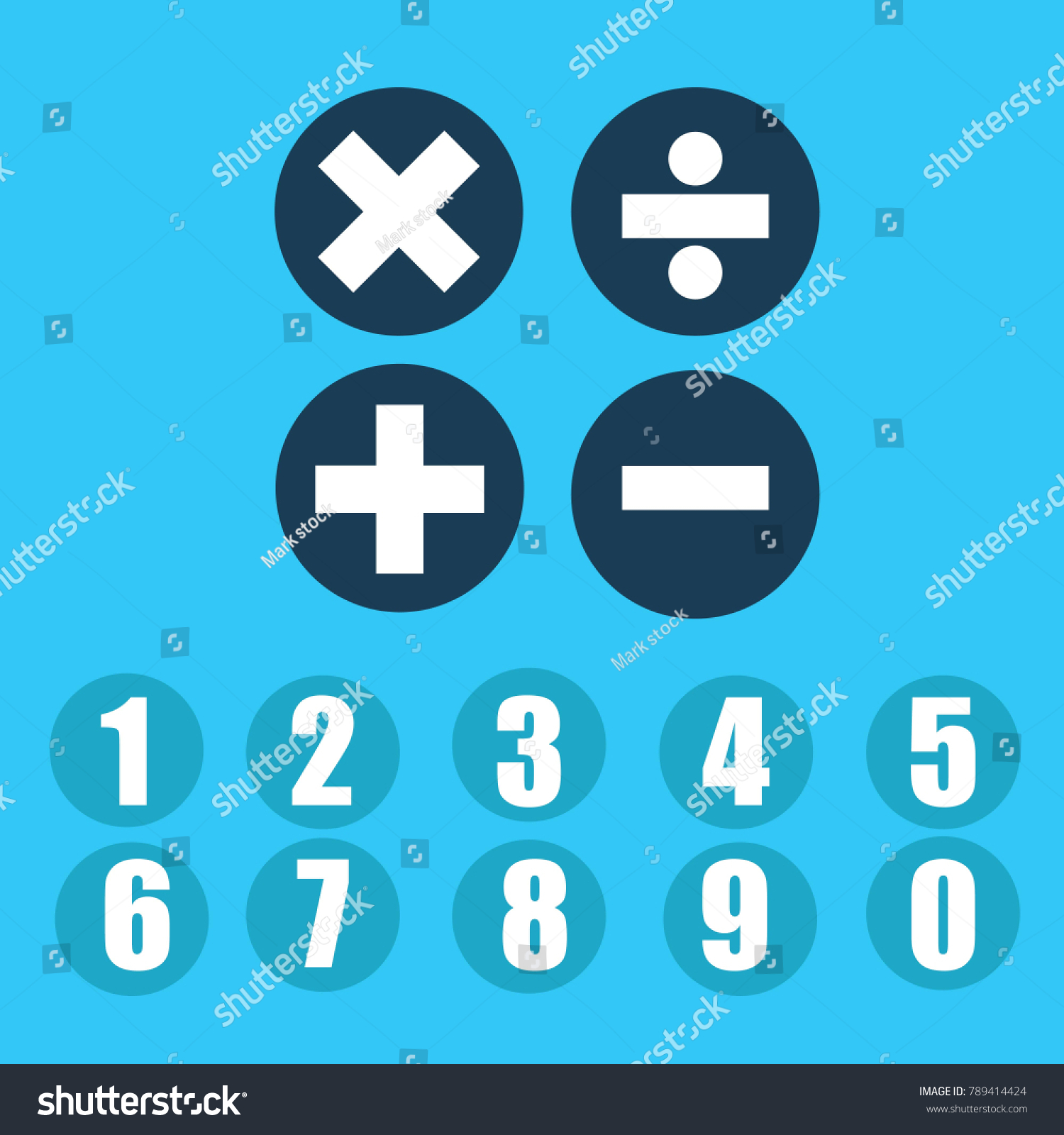 Mathematical Symbols Addition Subtraction Division Multiplication