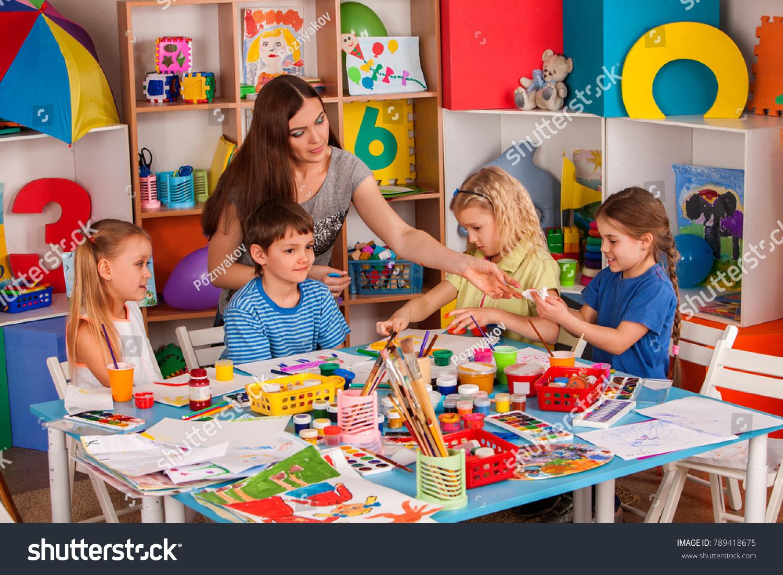 Kids Playroom Organization Children Painting Drawing Stock Photo ...