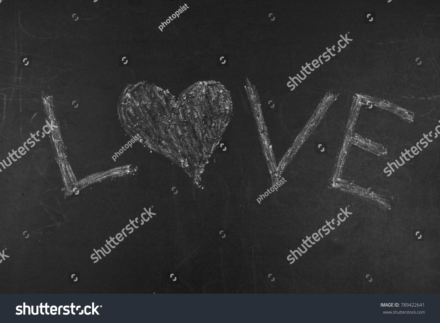Greeting Message Love With Heart Symbol White Chalk Word On