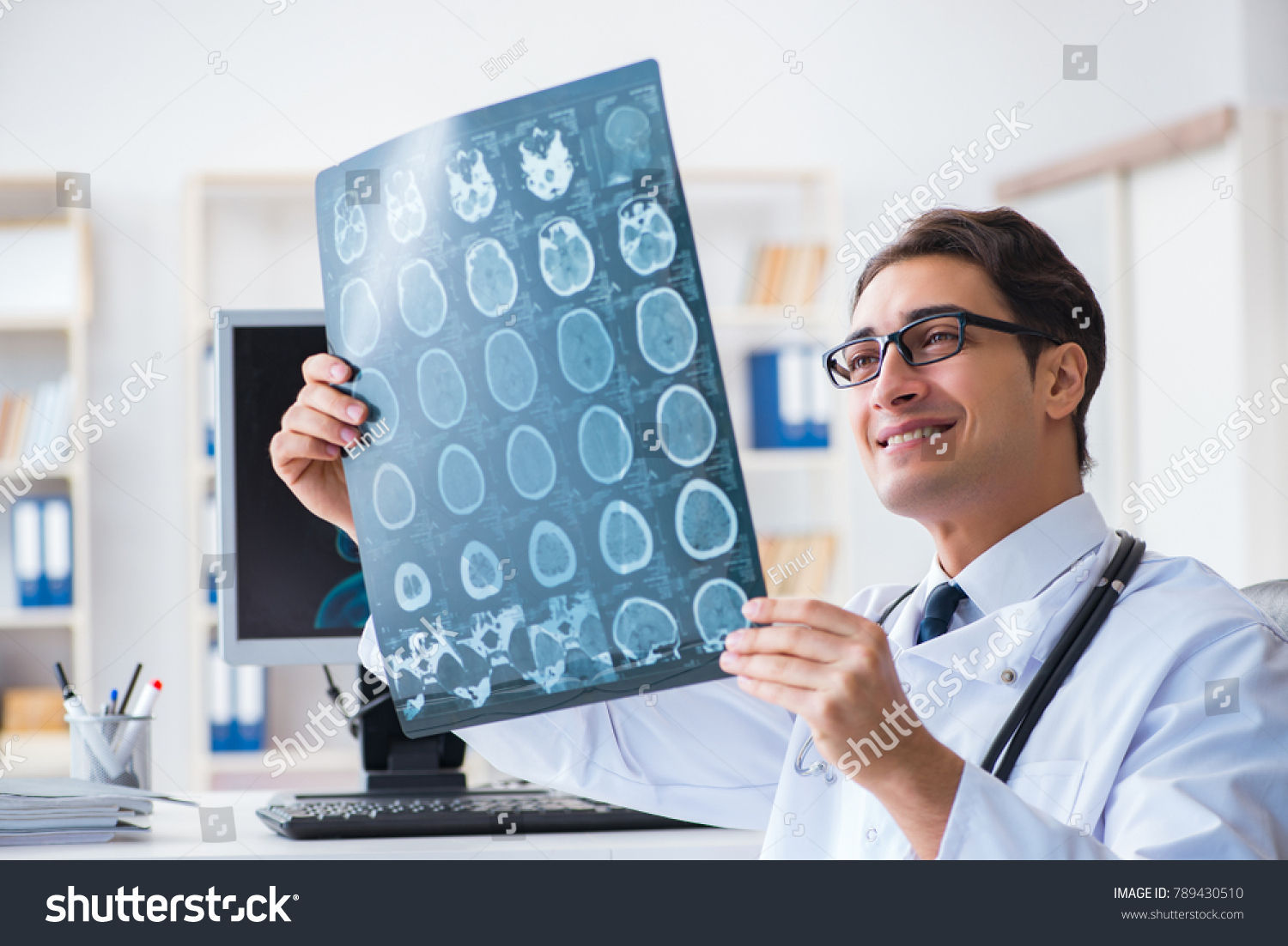 Doctor Radiologist Looking Xray Images Stock Photo Royalty Free