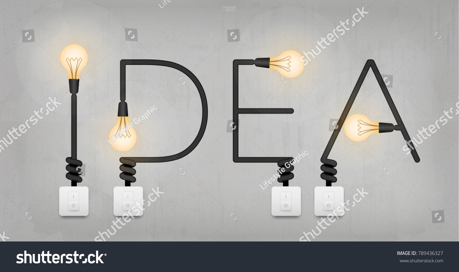 Idea Abstract Linear Alphabet Electric Wire Stock Vector Royalty Wiring A Light Fixture To Wall Switch Of With Bulb And