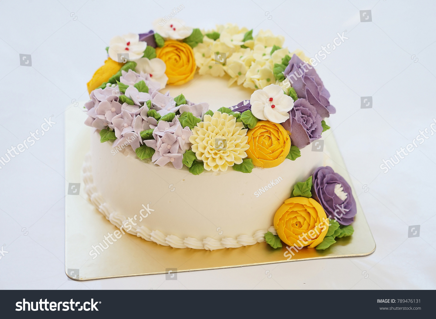 Birthday Cake Summer Flowers On White Stock Photo Edit Now