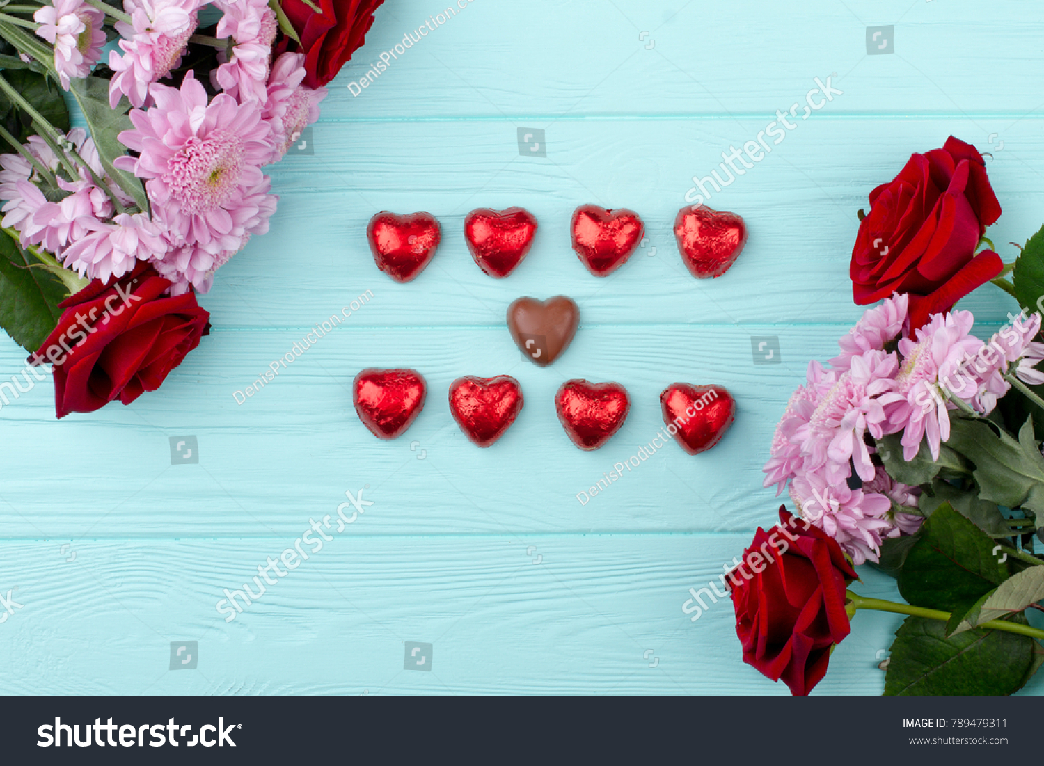 Beautiful Flowers Heart Shaped Chocolate Valentines Stock Photo