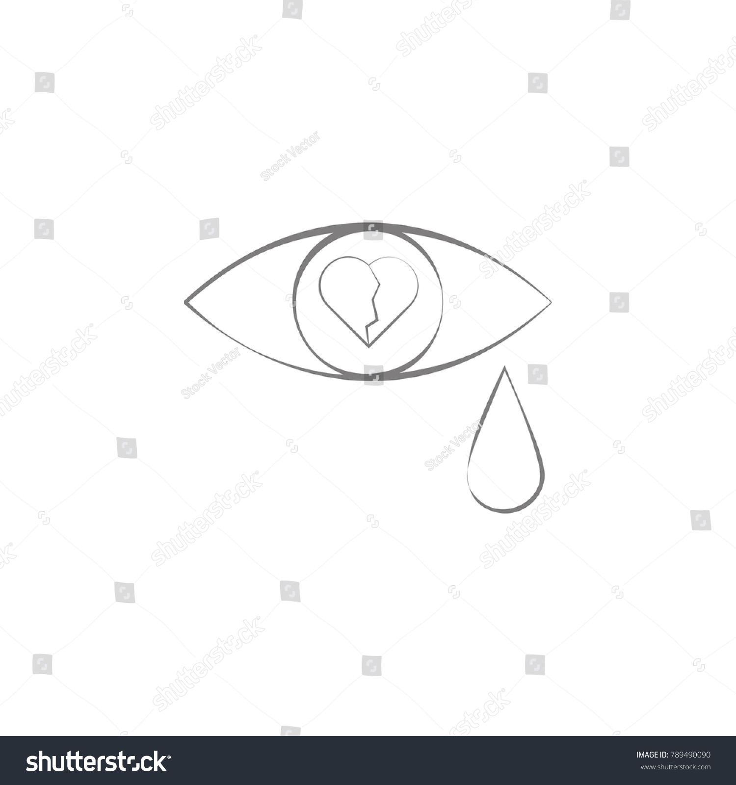 Tears Broken Heart Icon Web Element Stock Vector Royalty Free