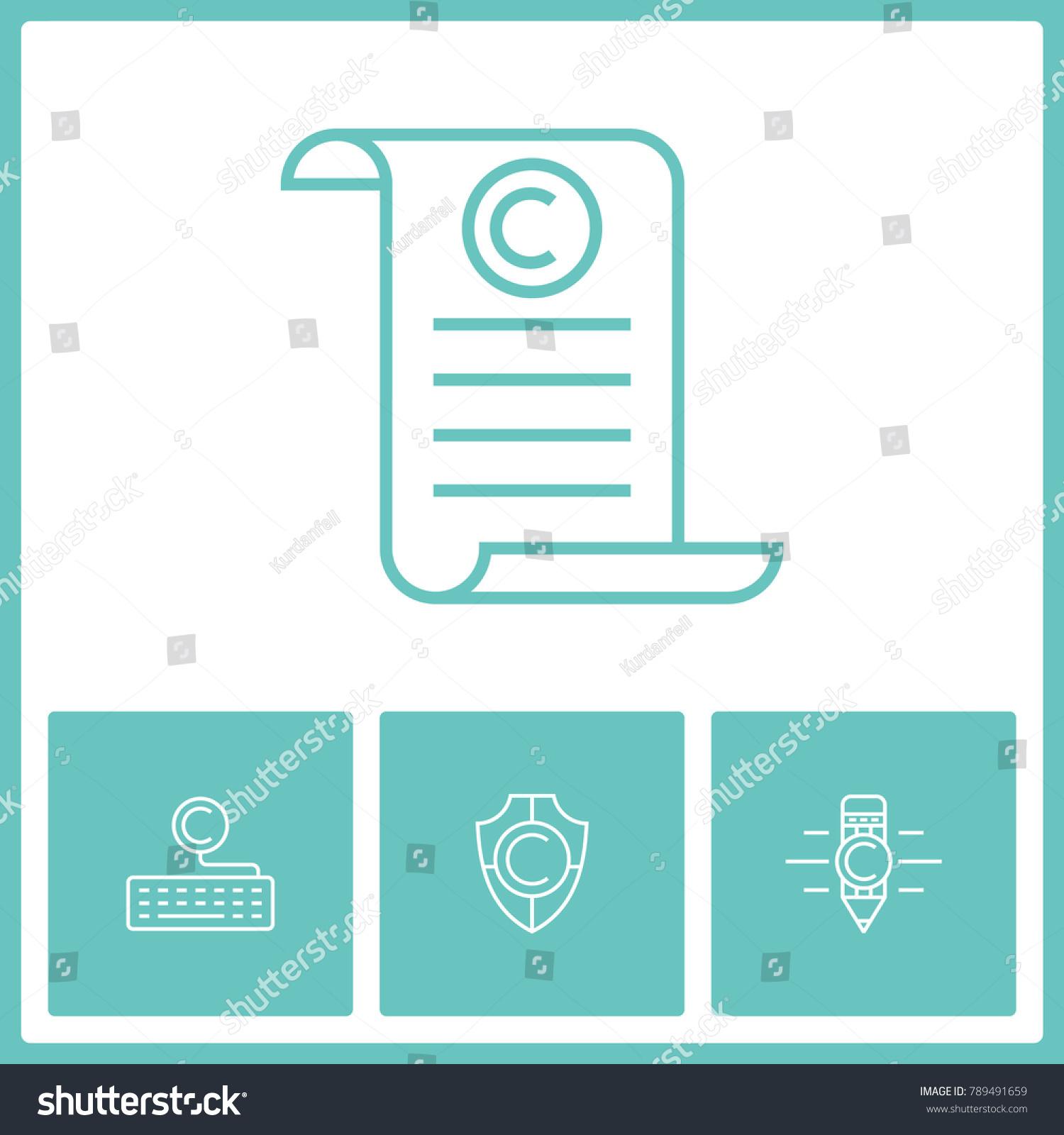 Copyright Intellectual Property Vector Line Icons Stock Vector