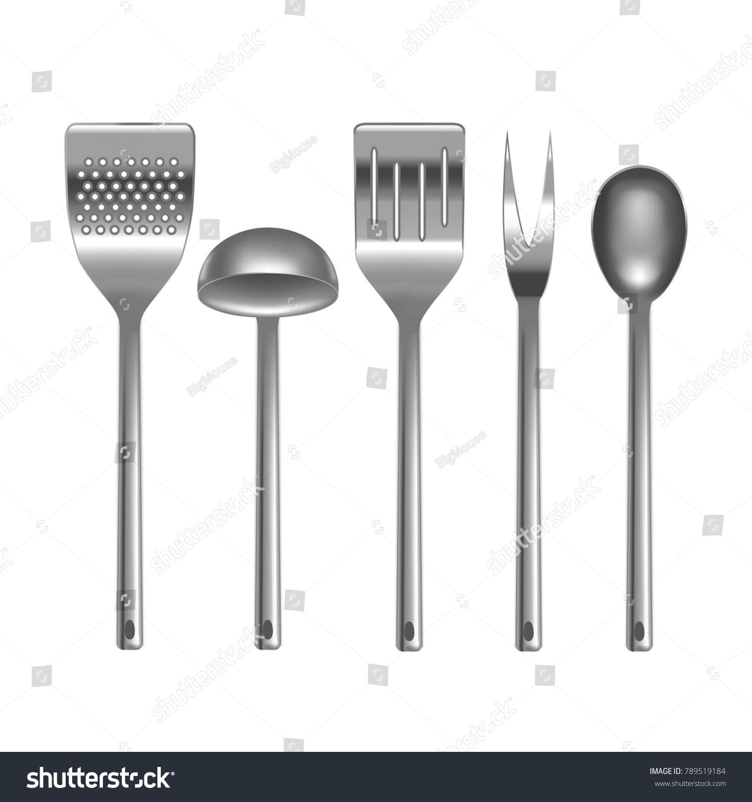 Realistic 3 D Metal Kitchen Utensils Set Stock Vector 789519184 ...
