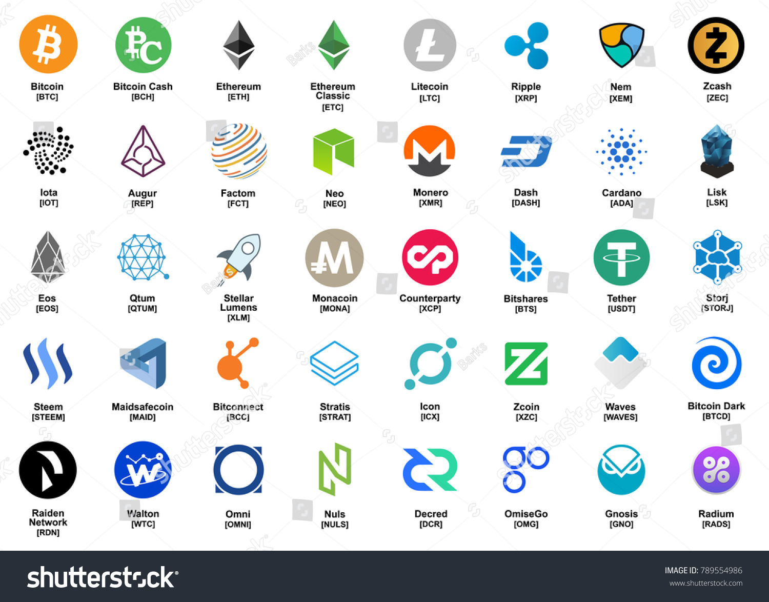 major crypto currency bitcoinaltcoin etc color のベクター画像素材
